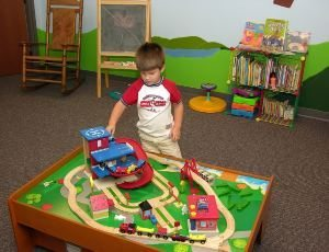 child in daycare classroom