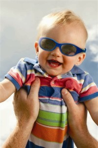 It's important for babies and infants to get comfortable in sunglasses. Source: Real Kids
